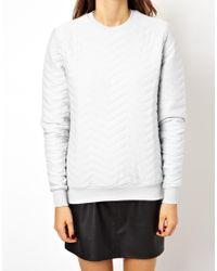 ASOS | White Sweatshirt with Zig Zag Quilting | Lyst