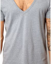 ASOS - Gray T-shirt With Deep V Neck for Men - Lyst