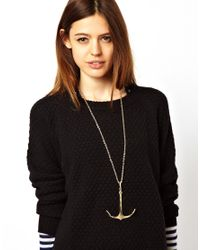 ASOS - Metallic Anchor Pendant Necklace - Lyst