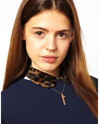 ASOS - Metallic Wear That There Sterling Silver Rose Gold Plated Long Rectangle Kiss Me Necklace with Heart Charm - Lyst