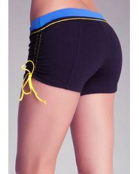 Bebe - Blue Ruched Side Shorts - Lyst