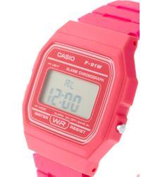 G-Shock - F-91wc-4aef Digital Pink Watch - Lyst