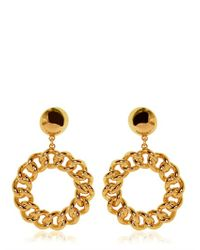 Moschino | Metallic Chain Circle Gold Plated Earrings | Lyst