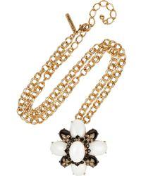 Oscar de la Renta - Metallic Cabochon Necklace - Lyst