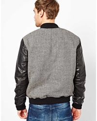 SELECTED - Black Bomber Jacket with Leather Sleeves for Men - Lyst