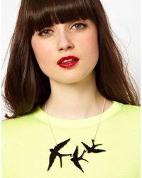Tatty Devine - Black Swallow Triple Necklace - Lyst