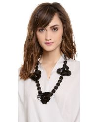 Tory Burch - Black Sequin Stone Flower Necklace - Lyst