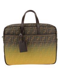 Fendi - Brown 'Zucca' Gradient Briefcase for Men - Lyst