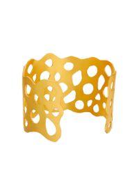 Kasturjewels - Metallic 22kt Gold Brass Plated Cuff - Lyst