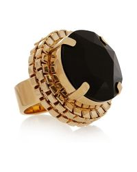 Mawi | Black Goldplated Swarovski Crystal Ring | Lyst