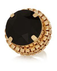 Mawi | Black Goldplated Swarovski Crystal Ring | Lyst