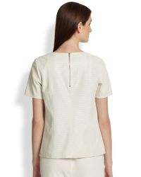 Vince - White Perforated Leather Tshirt - Lyst