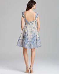 Alice Olivia Dress Fila Flare Lace In Grey Blue Blue
