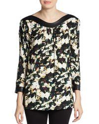 Catherine Malandrino - Black Amina Abstract Floral-Print Silk/Wool Blouse - Lyst