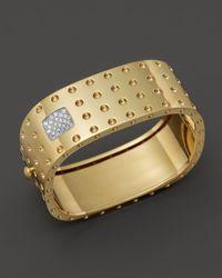 Roberto Coin | Metallic 18k Yellow Gold Pois Moi Four Row Diamond Cuff | Lyst