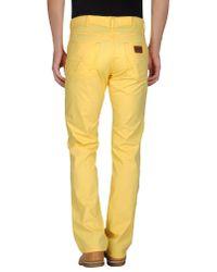 Wrangler - Yellow Casual Trouser for Men - Lyst