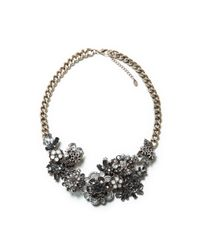 Zara | Gray Multiflower Crystal Necklace | Lyst
