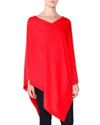 Tomas Maier - Red Asymmetric Cashmere Poncho - Lyst