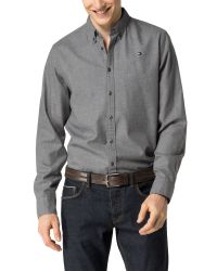 Tommy Hilfiger - Gray Light Flannel Shirt for Men - Lyst