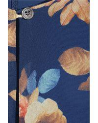 J.Crew - Blue Floral-Print Silk-Chiffon Dress - Lyst