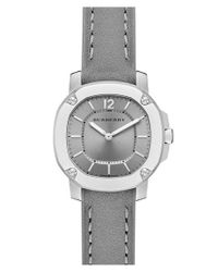 Burberry - Gray Leather Strap Watch - Lyst
