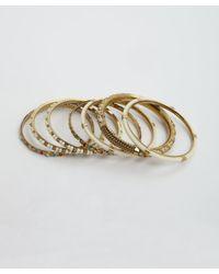 Chamak by Priya Kakkar | Metallic Set Of 7 - White And Antique Gold Bangles | Lyst