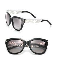 Tory Burch - Black Chevron Arm 53mm Square Sunglasses - Lyst