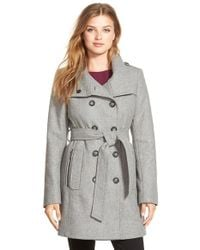 DKNY - Gray Double Breasted Wool Blend Trench Coat - Lyst