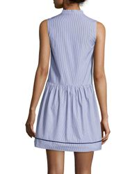 Piamita - Blue Striped Mock-neck Poplin Shirtdress - Lyst