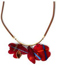 Marni Red Tartan Flower Cattle Horn Necklace