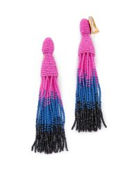 Oscar de la Renta | Blue Long Ombre-Beaded Tassel Earrings | Lyst