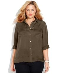 Michael Kors - Brown Michael Plus Size Tabsleeve Utility Shirt - Lyst
