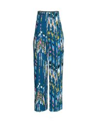 H&M   Blue Patterned Trousers   Lyst