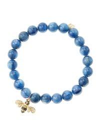 Sydney Evan | Blue 8Mm Kyanite Beaded Bracelet With 14K Gold/Diamond Bee Charm (Made To Order) | Lyst