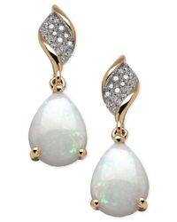 Macy's | Metallic Opal (1-5/8 Ct. T.w.) And Diamond (9/10 Ct. T.w.) Earrings In 10k Gold | Lyst