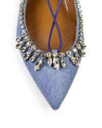 Aquazzura | Blue Christy Crystal Denim Flats | Lyst