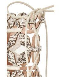 Anita Ko   Metallic White Elaphe Stella Lace Up Sandal   Lyst