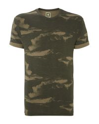 G-Star RAW | Green Camo Print Crew Neck T Shirt for Men | Lyst