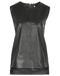 TOPSHOP - Black Oversized Leather Tank Vest - Lyst