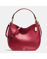 COACH | Red Nomad Hobo In Glovetanned Leather | Lyst