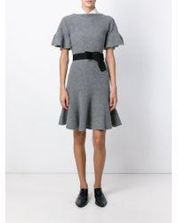 Emporio Armani - Gray Flared Godet-Hem Dress - Lyst