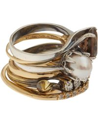 Iosselliani - White Crystal and Pearl Rock Cocktail Ring Stack - Lyst