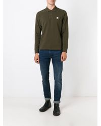 0a3e917f2 Moncler Long Sleeve Polo Shirt in Green for Men - Lyst