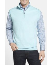 Peter Millar - Blue Interlock Knit Quarter Zip Vest for Men - Lyst
