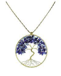 Aeravida - Blue Lapis Stone Eternal Tree Of Life Brass Long Necklace - Lyst