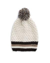 Steve Madden | White Striped Knit Beanie | Lyst