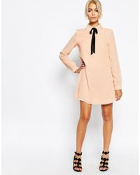 Fashion Union - Natural Shirt Dress With Tie Neck - Lyst