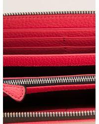 Emporio Armani - Red Logo Zip Around Wallet - Lyst