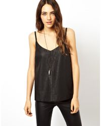 ASOS | Black Cami with Cutwork Panels in Leather Look | Lyst
