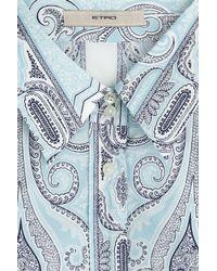 Etro - Blue Paisley Print Cotton Shirt - Lyst